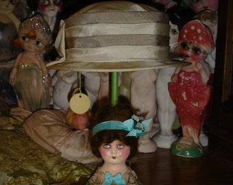 """13"""" Doll Head Hat Stand Vintage Style 1920s Green and Turquoise"""