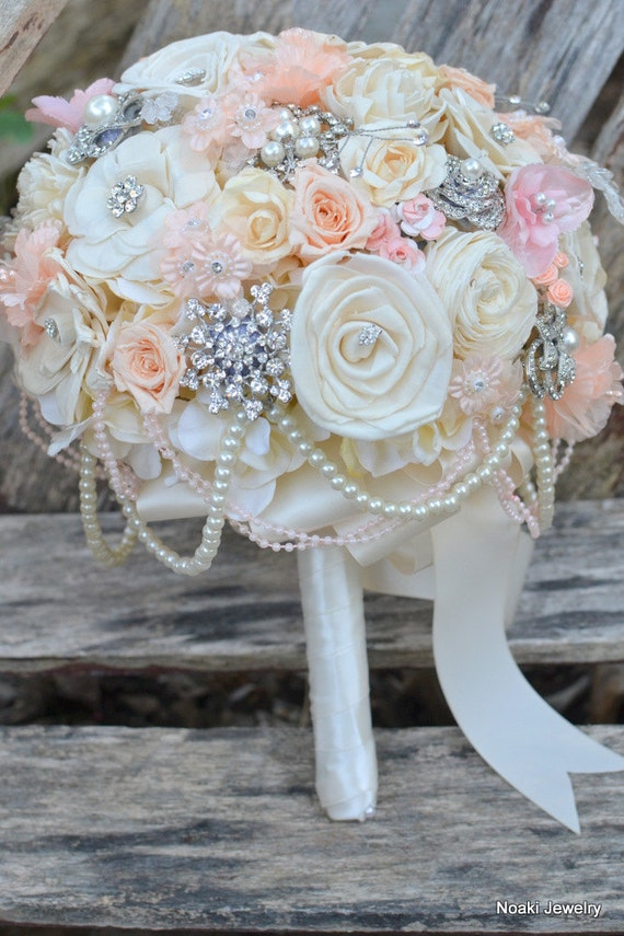 pink flowers bridal brooch bouquet