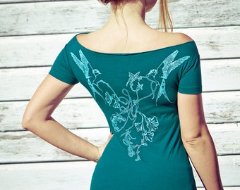Women's Dark Aqua Bamboo Tee, Original art of Swallows on the back, perfect Valentine gifts.