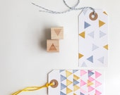"Geometric Triangles and Polka Dots Rubber Stamps (Wood Mounted) Abstract Design Set of 2, Mini Duos 1/2"" size (M8A-8B) - HunterandCoDesigns"