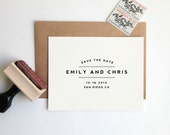 NEW! Save the Date Stamp, Custom Wedding Rubber Stamp (Wood Mounted) Large Minimalist Modern Design Personalized with Names, Date + Location