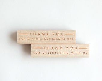 "Wedding Thank You Stamp, Ultra Minimalist Modern (Wood Mounted) optional wooden handle ""Thank you for sharing our special day"" (S150A-S150B)"