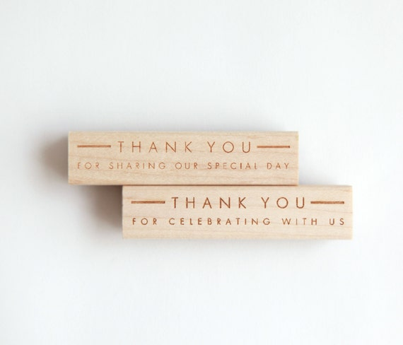 """Wedding Thank You Stamp, Ultra Minimalist Modern (Wood Mounted) optional wooden handle """"Thank you for sharing our special day"""" (S150A-S150B)"""