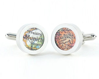Munich Germany Vintage Map Chrome Cufflinks with Gift Box