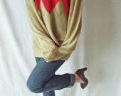 Vintage Argyle Pullover Sweater - Boyfriend Sweater - Red - Medium Terramar Ramie Cotton