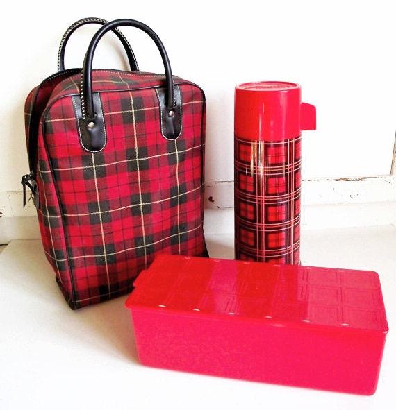 Vintage Red Plaid Thermos Picnic Set - Thermos - Sandwich Box - Bag - Skotch Plaid - Aladdin