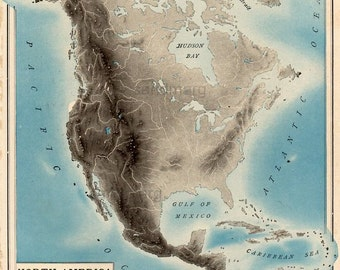 Original Antique Edwardian Relief Map of North America Rand McNally 1903