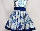 Girl's Butterfly Blue Sleeveless Dress, Sizes 1T-5T