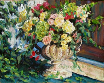 """Original Oil Painting, Still Life, Bouquet of Roses, Shabby Chic, impressionistic, Fine Art, Floral, 11 x 14"""""""
