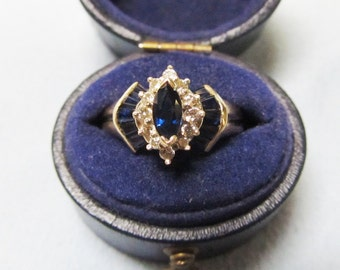 Fanfare Vintage Marquise Sapphire and Diamond Ring