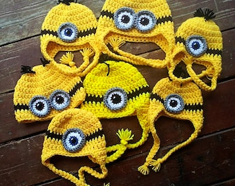 Crochet Minion Hat Perfect for Halloween or Christmas present Choose size eyes and hair for Baby Children and Adults