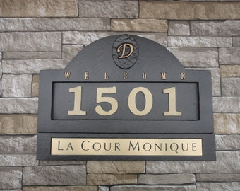 Monogram HOUSE NUMBERS Large Home Address Plaque