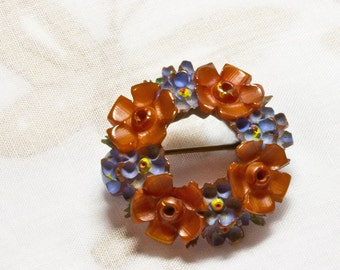 REDUCED Small Art Deco Carved Bakelite Round Brooch,Flower Garland With Painted Blue Flowers,1930's Gift for Her,