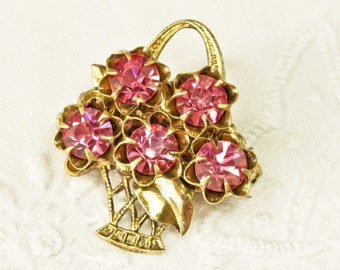 REDUCED Sparkling Pink Rhinestone Flower Basket Brooch,Small Pin, Spring Summer Jewelry,Gift for Her,Mothers Day,FREE Postage  UK