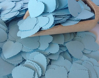 Blue Baby Shower Heart Confetti- Vintage Shabby Chic - wedding confetti, baby shower decoration, table scatters