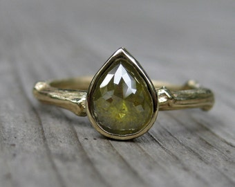 Reserved for Megan: Green Pear Diamond Engagement Ring, Yellow Gold, .91ct, One of a Kind