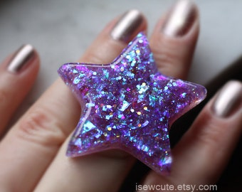 brilliant resin star ring, opalescent blue & purple - handmade resin glitter jewelry by isewcute