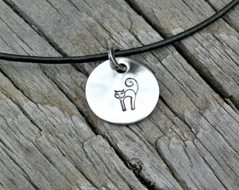 Stamped Stainless Steel Charm - Pendant - Cat - Scaredy Cat - Halloween