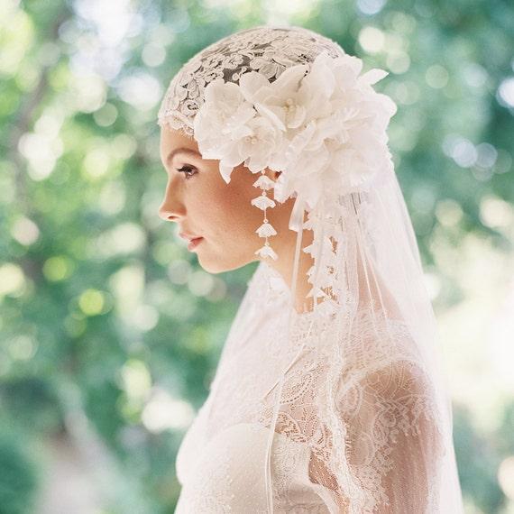 Wedding headpiece, bridal cap, lace bridal veil, silk tulle veil, 1920s headpiece, bridal hairpiece - Style Manon 1918