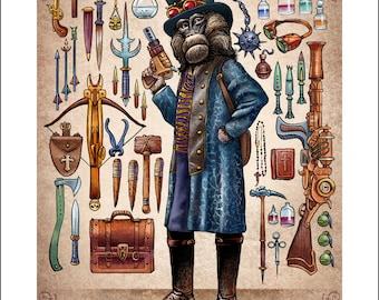 "Gabriel Warwick Thorncastle 11"" x 14"" Art Print- Steampunk Monkey Nation Portrait- Whimsical Monkey Wall Decor"