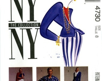 McCalls 4730 NY Collection Asymmetrical Jacket Top Skirt and Pants Size 8 Uncut Vintage Sewing Pattern 1990