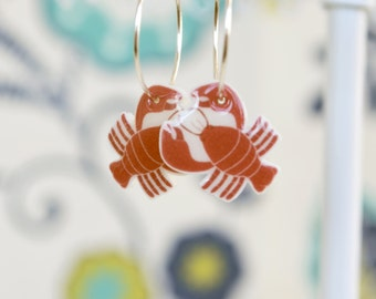 Red Lobster Earrings, Nautical jewelry