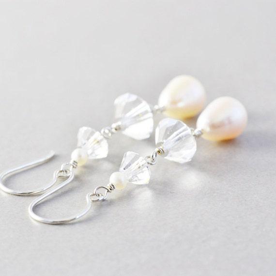 Pearl Dangle Earrings, Vintage Crystal Deco Earrings, OOAK