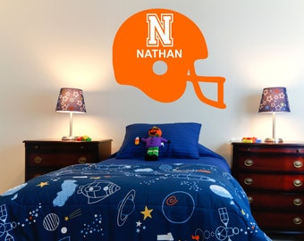 Football Helmet Wall Decal with Athletic Font Personalized Name