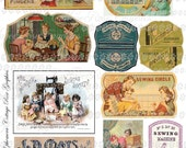 Vintage Sewing thread labels Large digital download collage ATC ACEO  ECS buy 3 get one free