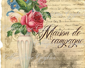 Large digital download  French Country Maison home pink roses image BUY 3 get one FREE