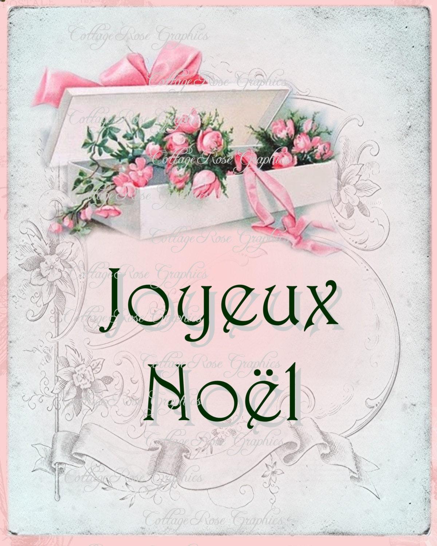 pink christmas french joyeux noel vintage box of pink roses. Black Bedroom Furniture Sets. Home Design Ideas