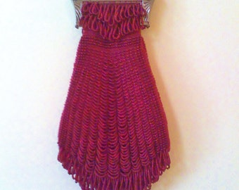 Elegant Bead Knitted Burgundy Bag