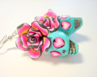 Pink Hearts Turquoise Day of the Dead Rose and Sugar Skull Earrings
