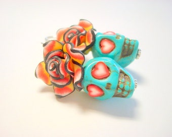 Red Hearts Turquoise Day of the Dead Rose and Sugar Skull Earrings