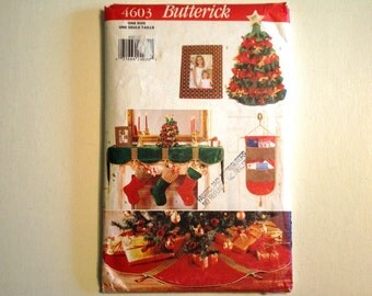 Butterick 4603 Pattern UNCUT A Pinwoven Christmas. Mantel Cover, Tree Skirt, Cardholder, Picture Frame, Christmas Tree and Stocking