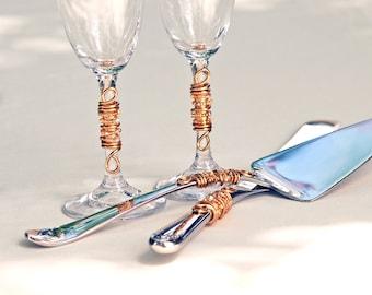 CUSTOM CHOOSE COLORS - Beaded Wedding Cake Server And Knife Serving Set And Champagne Toasting Flutes Swarovski Crystal, Pearl