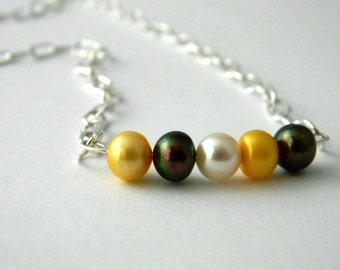 Multicolored Pearl Chain Necklace Lobster Clasp 18 Inch