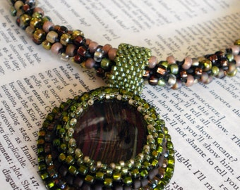 In The Forest - Gorgeous Hand Beaded Fused Glass Pendant On Beaded Kumihimo Necklace