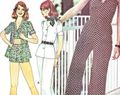 1970s Halter Neck V Neck Top Jacket Flared Leg Pants Hot Pants Womens Vintage Sewing Pattern McCalls 4495 Bust 32 1/2 Uncut