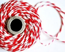 Super Thick {24ply} Pure Linen Bakers Twine {10.0m} Red White Stripe Gift Wrap DIY Supplies Christmas in July - seen Front Page Etsy