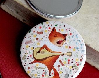 Singing fox illustration Mirror -  fox art mirror, woodland animals, pocket mirror music fox - illustration by Meluseena