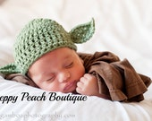 Baby Yoda Hat, Crochet Baby Hat, Photography Prop, Newborn to 3 Months through 6 to 12 Months, Green Yoda Hat, Photographer Prop