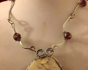 Hammered Silver and Beach Stone Wrapped with Lavender Austrian Crystals