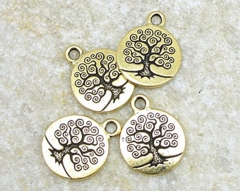 Tree of Life Charms Gold Charms TierraCast Bodhi Tree Yoga Charms for Mindfulness Jewelry Meditation Zen Woodland Nature Charms  (P784)
