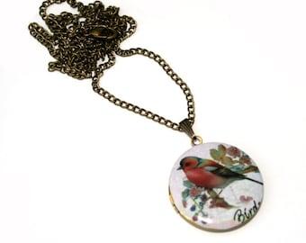 Bird Locket Necklace, Bird Necklace, Woodland, Animal Jewelry