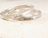 Personalized Stacking Ring -  Ultra Thin Engraved Ring - Silver Posey Ring - Birthday Gift