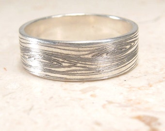 Woodgrain Ring -  Faux Bois Ring - Engraved Ring