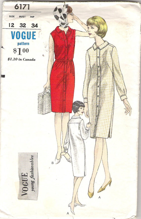 Vintage Sewing Pattern Button Front Shirt Dress Vogue By