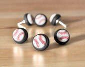 Summer Baseball Softball Push Pins in Black Polymer Clay. Custom School Team Colors Available. Home Office Organization Unisex Gift Set of 6