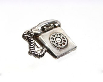 1920s Silver Telephone Brooch / Pendant, Vintage Jewelry
